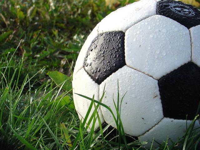 芝の上のサッカーボール