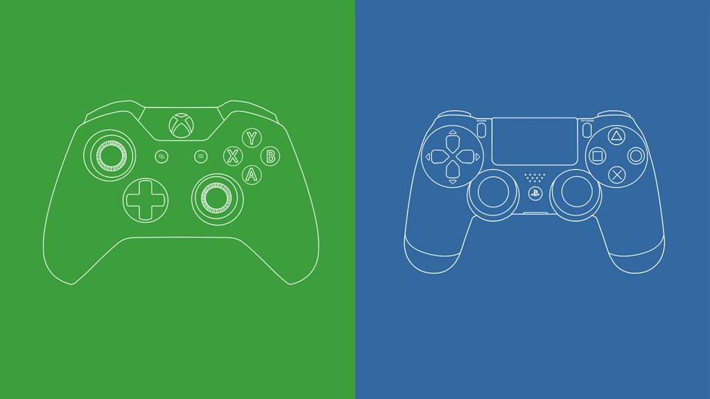 PS4とXBOX ONEのコントローラー画像