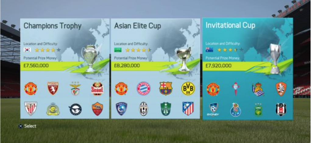 FIFA16キャリアモードのプレシーズンマッチ選択