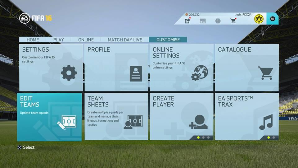 FIFA16カスタマイズ画面