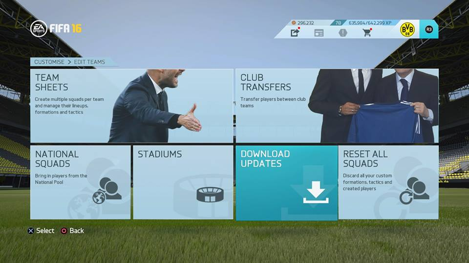 FIFA16チームエディット画面