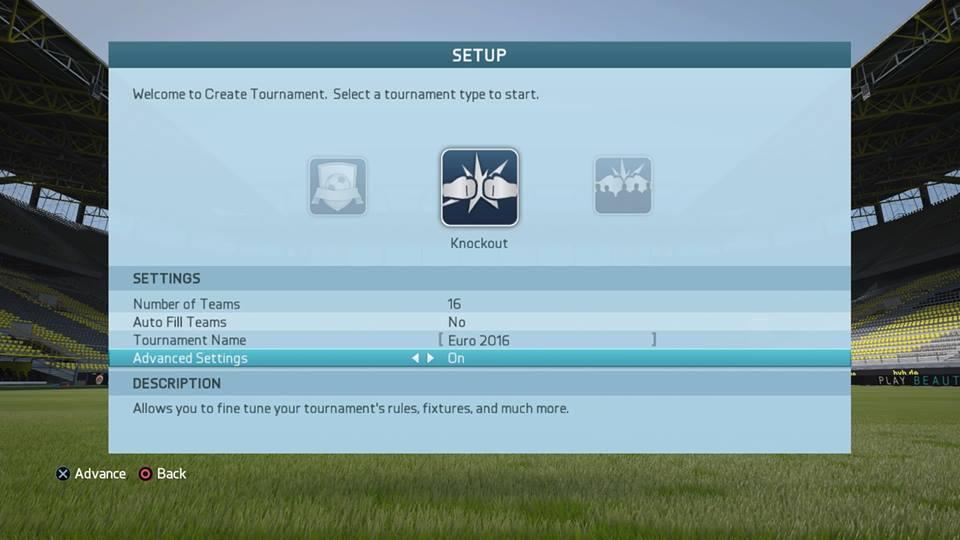 FIFA16トーナメント大会方式の設定