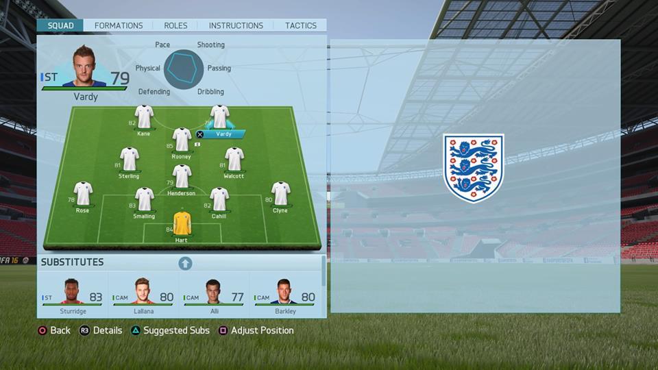 FIFA16イングランド代表チームのスタメン