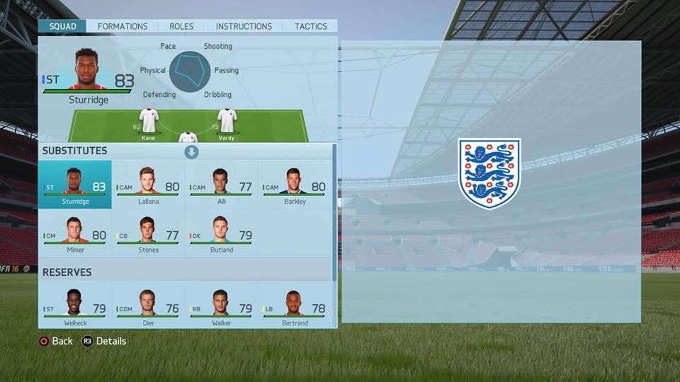 FIFA16イングランド代表の控え選手