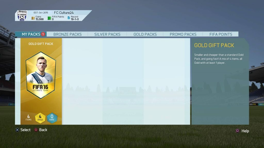 ゴールドギフトパックの選択画面