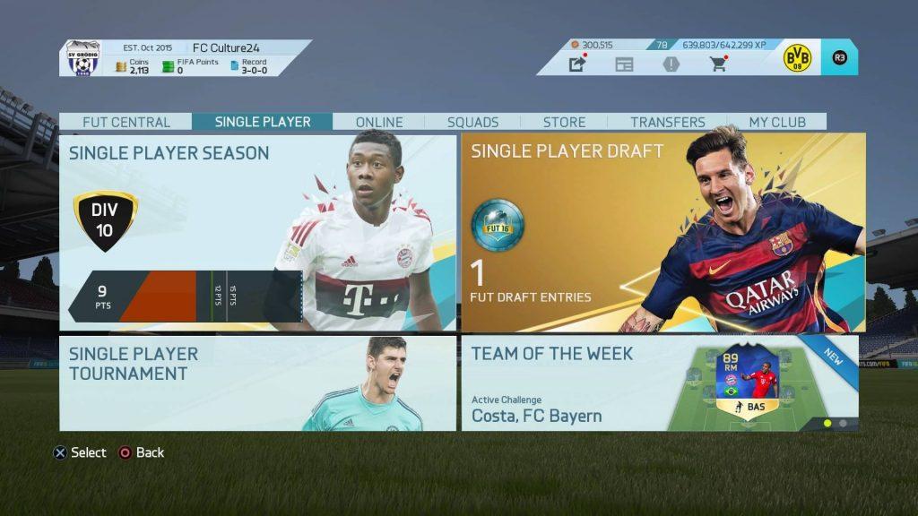 FIFA16のUTでDiv10に挑戦