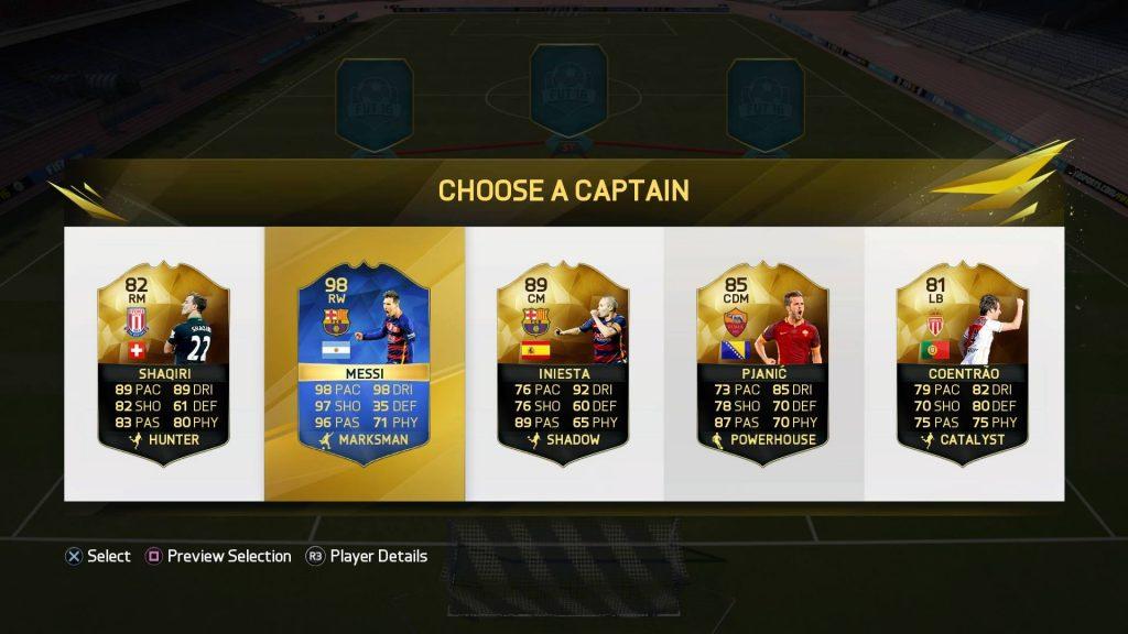 FIFA16 ドラフトのキャプテン選択画面