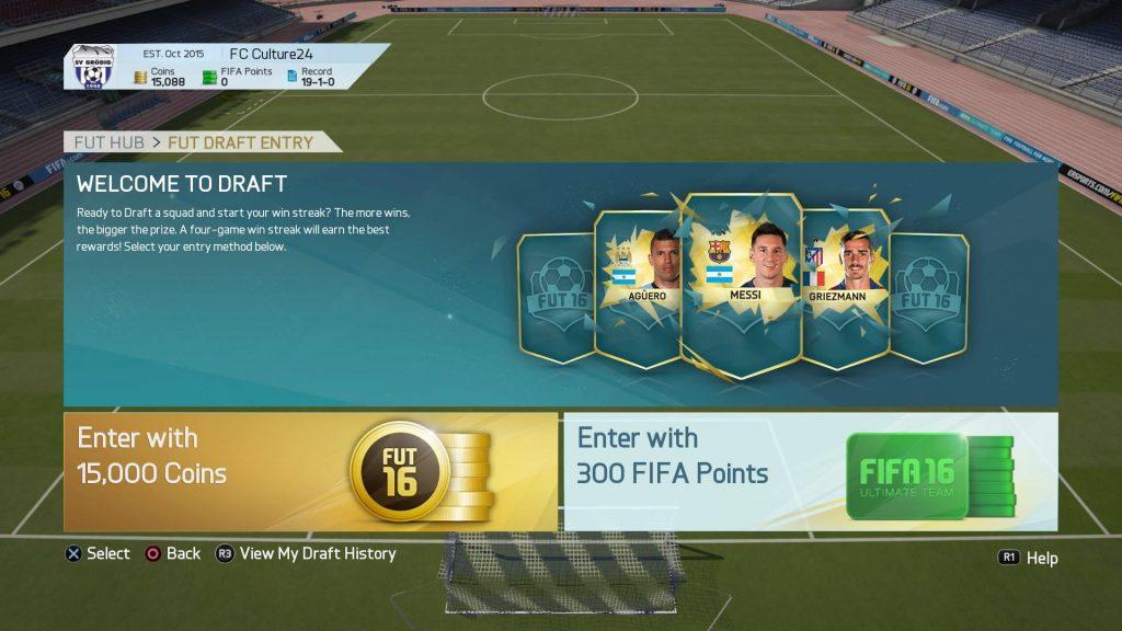 FIFA16 ドラフトのエントリー画面