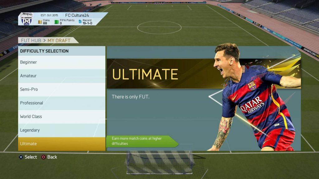 FIFA16 ドラフトのレベル選択画面