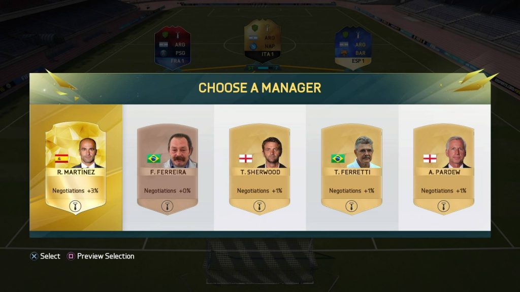 FIFA16 ドラフトのマネージャー選択画面