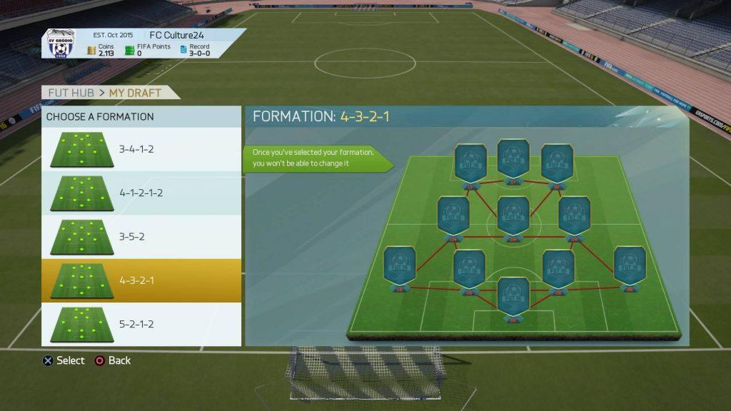 FIFA16UTドラフトのフォーメーション選択画面
