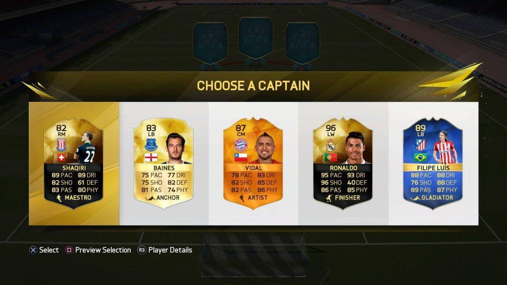 FIFA16UTドラフトのキャプテン選択画面