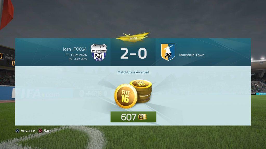 FIFA16UTドラフトで試合終了