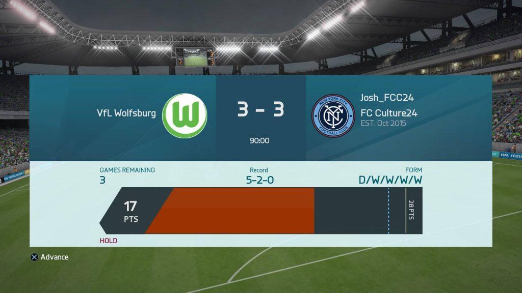FIFA16 UTのDiv1最終節の結果