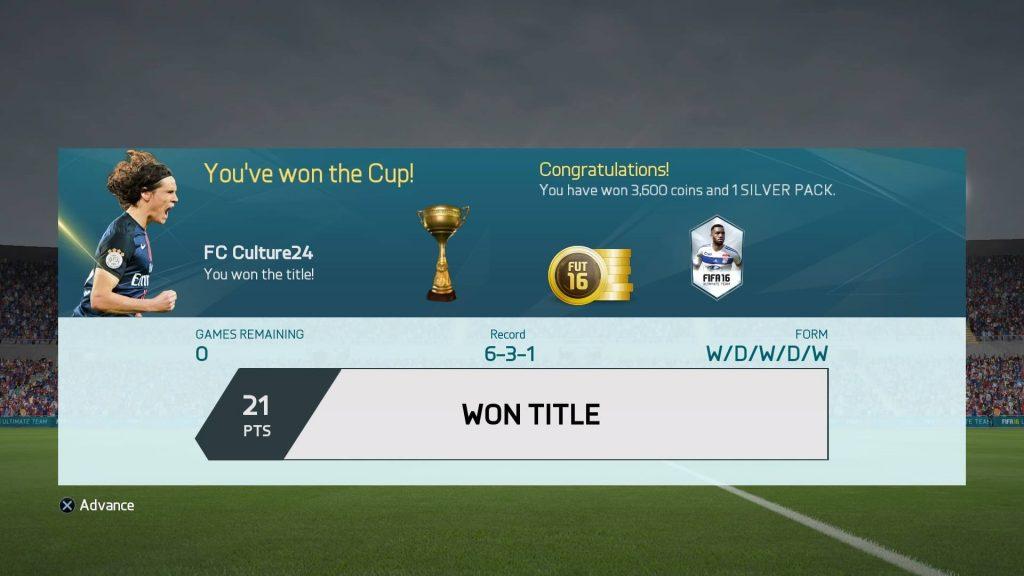 FIFA16 UT Div6 Won
