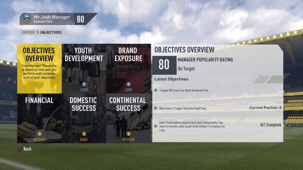 FIFA17_キャリアモードで与えられた目標