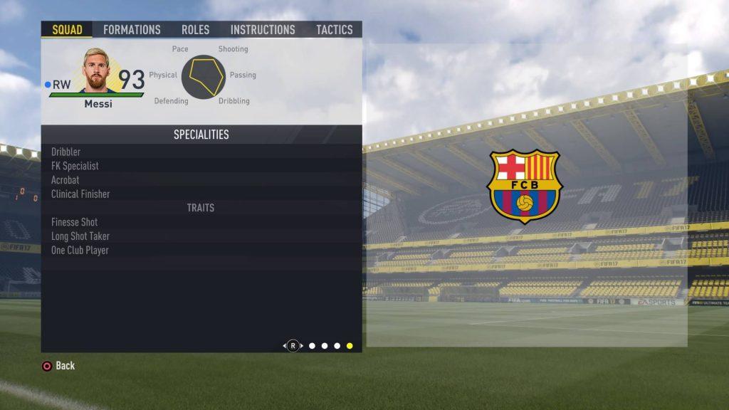 FIFA17のメッシの特性
