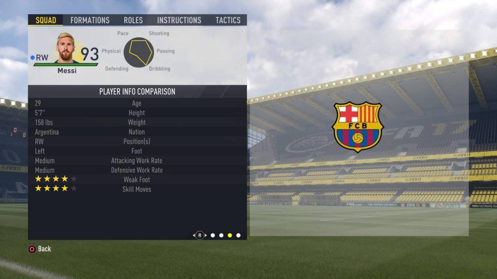 FIFA17のメッシのプロフィール