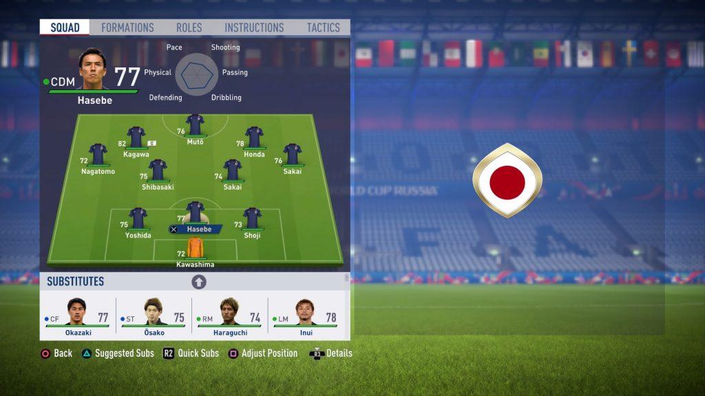 FIFA18ワールドカップアップデート日本代表チーム